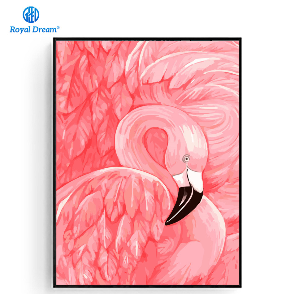 Flamingo Canvas Painting By Number Kits Poster North Animal Europe ...