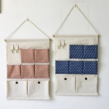 New Hot Sale Pocket Wall Hanging Storage Bags Linen Cotton Waterproof Pouch Folding Sundries Organizor For Toys Home Decoration