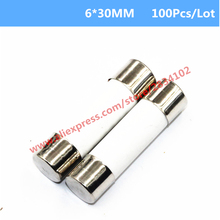 100 Pcs 6*30MM Ceramics Fuse Fast Blow 0.5A 1A 2A 3A 4A 5A-20A 6mm*30mm 250V Electrical Auto Fuse High Quality Protector