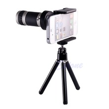 Universal 8X Optical Zoom Telescope Camera Lens Tripod Holder For Mobile Phone(China)