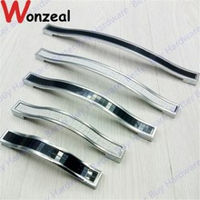 Hole Pitch 96mm/128mm/160mm silvery colored crystal furniture handle/ drawer pull/ knob/kitchen cabinet pull(China)