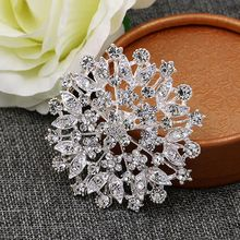 Hot Selling Large Size Sparkling Crystal Rhinestones Flower Brooch Pins for Outer Wear or Wedding(China)