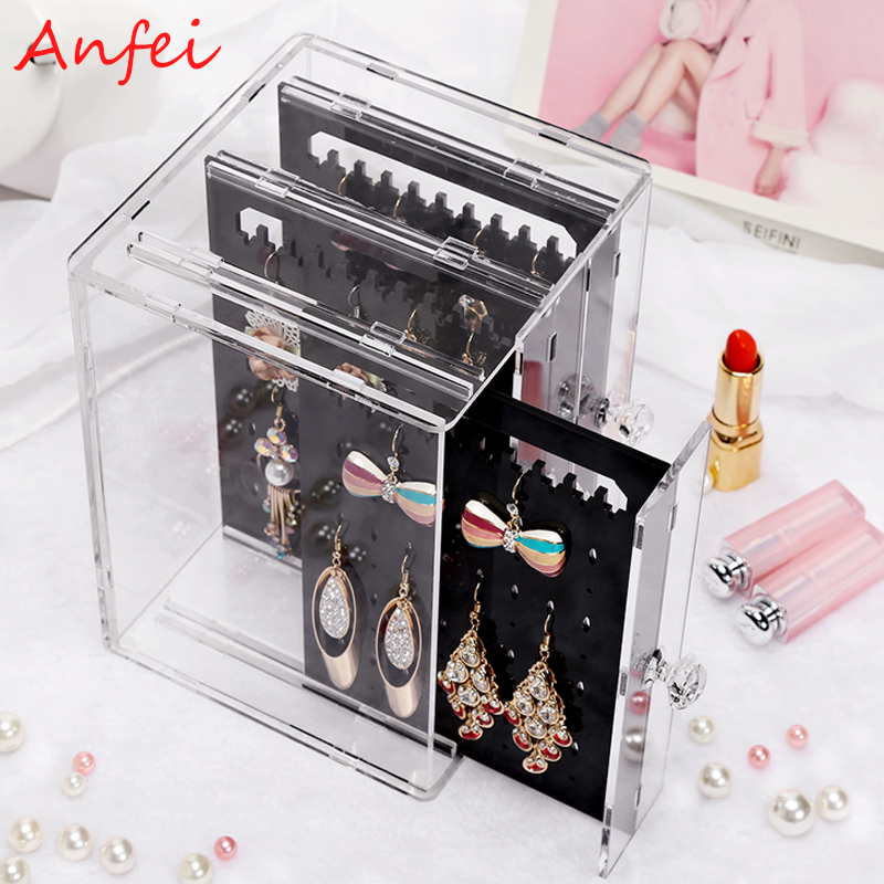 Earrings Box Earrings Display Acrylic Jewelry Display Box Earrings Organizer Drawer Clear Rings Holder Jewelry Organizer C220(China (Mainland))