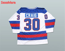 1980 Miracle On Team USA 30  Jim Craig Hockey Jerseys Blue White Stitched S-XXXL Free Shipping