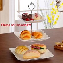 Hot Sale 1 Sets 3 Tier Cake Plate Stand(Plate Not Include) Handle Crown Fitting Metal Wedding Party