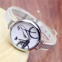 Hot Sale Lovers' Wristwatch Stylish Simplicity Bicycle Pattern Dial Watch Young School Students Fashion Analog Watch