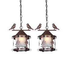 European Vintage Glass Metal Bird Cage Pendant Light Country Rustic Bronze Black White Balcony Hallway Restaurant Pendant Lamp(China)