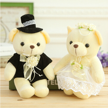25CM a  A pair of dolls wedding decoration teddy bear plush toys wholesale Christmas gift wedding gift 2pcs/pair free shipping
