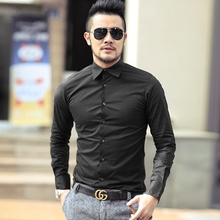 2016 New England Men's Luxury solid white shirt slim fit Dress Shirts Peaked Collar Long Sleeve Classic-fit Formal Shirt(China)