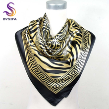 Fashion Classic Pattern Women Silk Scarf Printed 90*90cm Ladies Satin Big Square Polyester Scarf Red Stripe Silk Scarves Wraps