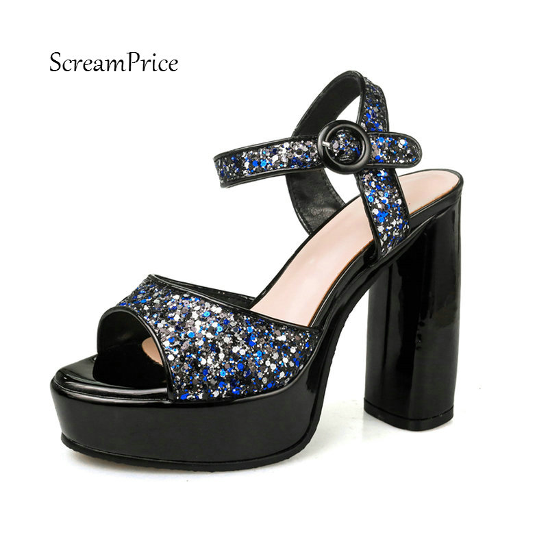 Women Sparkling High Heels Summer Platform Square Heel Sandals Fashion Buckle Strap Party High Quality Shoes Woman<br>