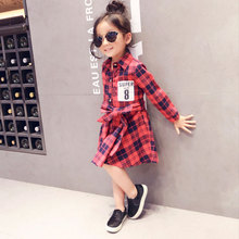 2017 Hot Sale  Autumn Children Baby Girls Dresses Kids Plaid Belt Long Sleeve Big Girls Dress
