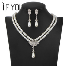Fashion New Design Simulated Pearl Crystal Water Drop Necklace Stud Earrings Jewelry Set for Women Wedding Gift Free Shipping(China)
