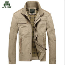 Men's Jacket khaki and army green colors Male Overcoat Casual Solid Jacket NEW Men's Jacket Cotton Plus Size Men's Coat(China)