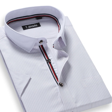 Buy Summer 2017 Men's Short-Sleeve Striped Dress Shirt Patchwork White Collar Classic-fit Comfort Soft Modal Business Formal Shirts for $11.99 in AliExpress store