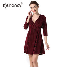 Kenancy Fall 2017 Fashion New 4 Colors Solid Sexy V-neck Velvet Dress Women 3/4 Sleeve Mini Office Vestidos Elegant & Slim(China)