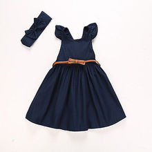 2017 New Summer Cotton Flower Blue Girls Princess Dress Kids Baby Ruffle Party Pageant Dress Clothes