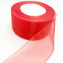 (10 yards/lot) 2'' (50mm) RED organza ribbons wholesale gift wrapping decoration Christmas ribbons