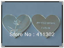 2013 New Design .999 pure solid silver 1gram Valentine's Day Rose Heart bullion bar, commemorative coins 10pcs/lot,Free shipping(China)