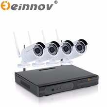 EINNOV CCTV System Wireless 720P WIFI NVR 1.0MP IR Outdoor P2P Wifi IP 4CH CCTV Security Camera System Surveillance Kit 1TB HDD