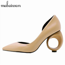 Mabaiwan Strange Heel Women Pumps Pointed Toe High Heels Design Wedding Dress Shoes Woman Zapatos Mujer Stiletto Valentine Shoe(China)
