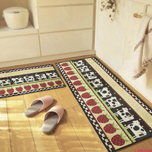 yazi Cow Strawberry Soft Fabric Non Skid Kitchen Runner Water Absorbency Door Mat Bedside Porch Carpet Aear Rug 4 Size Tapete
