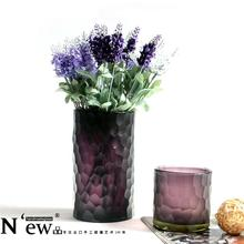 European purple hand carved glass vase modern Home Furnishing decoration Fuguizhu hydroponic straight flower