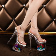 Women sexy catwalk model night club transparent crystal on the platform 20 cm extreme thin high heels sandals female pumps F1