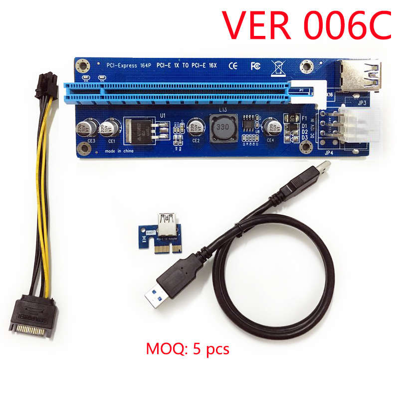 006C PCIe PCI-E PCI Express Riser Card 1x to 16x USB 3.0 Data Cable Adapter SATA to 6 pin for Bitcoin Mining WK02(China (Mainland))