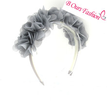 2017 new fashion chiffon silk flower around the head children fashion hair accessories with non wrinkle band with gripes teeth(China)
