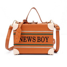 Famous Vintage Brown Embroidery Letters Shoulder Bags Ladies Personality Lock Buckle Box Handbags Casual Crossbody Messenger Bag