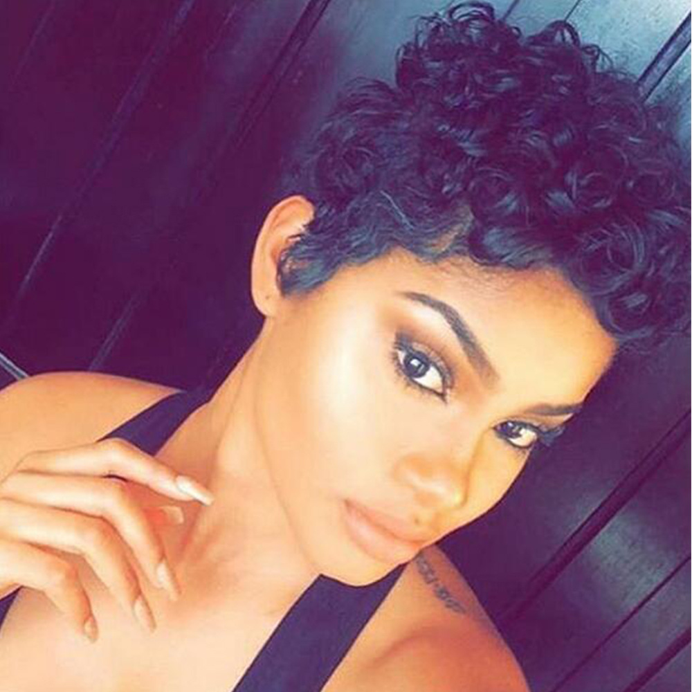 Synthetic Short Wigs for Black Women Female Pixie Cut Wig Heat Resistant Synthetic Wigs Women Short kinky Curly Hair<br><br>Aliexpress