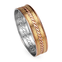 Brand Bracelets Bangles,Stainless Steel Vacuum Plating Gold And Rose Gold,No Welding Points