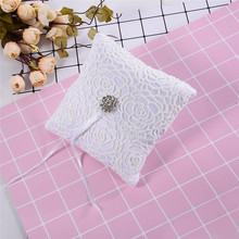 Beautiful 15x15cm White Wedding Lace Ring Pillow Flower Shape With Flash Diamond Romantic Pillow Cushion Home Decoration