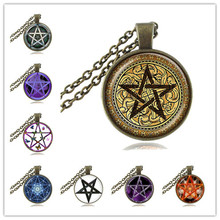 Golden Pentagram Necklace Cabochon Pentacle Pendant Ace of Pentacles Tarot Card Jewelry Wiccan Accessories Occult Jewellery