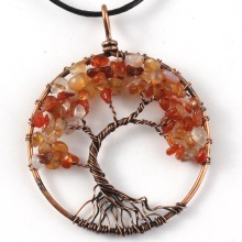 UMY New Trendy Copper Wisdom Tree of Life Pendant Carnelian Necklace Stone Jewelry