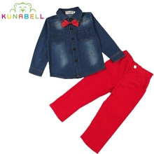 Buy Handsome Children Boys Bow Tie Jacket Coat Shirt +Red Pants 2Pcs/Set Baby Boy's Suit Kids Long Sleeve Denim Trousers Jeans L226 for $13.55 in AliExpress store