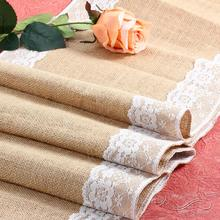 Hot Sale Burlap Hessian Lace Wedding Table Runners Vintage Rustic Country For Wedding Decoration