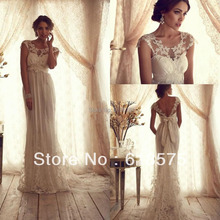 2016 Sheer Scoop Neck Backless Sash Bow Beach Vintage Wedding Dresses