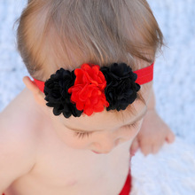 50PCS/LOT Red Black Chiffon Flower Hair Bows Headband kids Hair Accessories Merry Christmas Best Party Dress Up DIY Headwear(China)