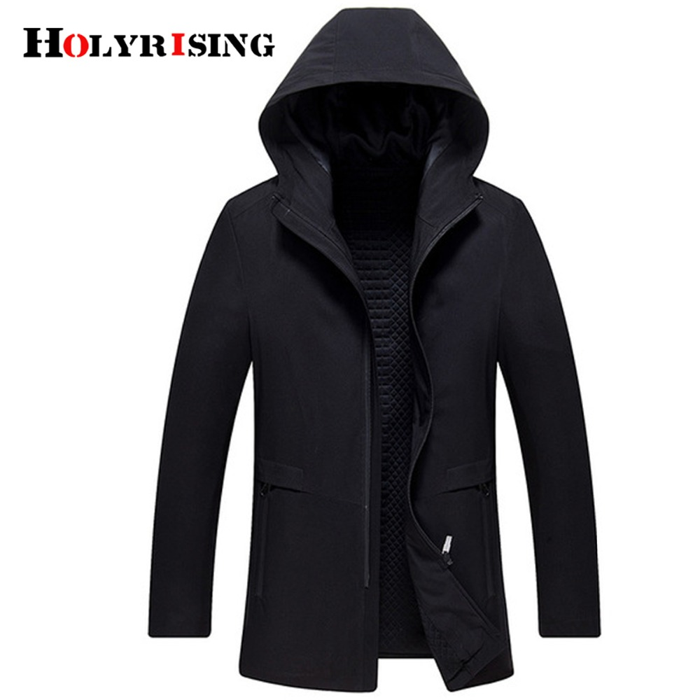 Holyrising Men Trench Coat Causal Chaqueta Larga Hombre Slim Mens Overcoat Vintage Hooded Black Zipper Jackets And Coats 18618-5
