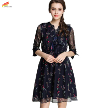Fashionable Dresses 2017 Summer Style Floral Printing Half Sleeve Chiffon Womens Dresses Euro Style Woman Casual Women Clothing