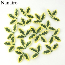 Cheap 20pcs  Artificial Green Leaves For Wedding Christmas Tree Decoration Garland Rose Leaf Foliage Scrapbooking Craft Flowers