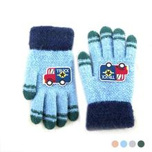 2017 Autumn Winter Childern Gloves Lovely Truck Printed Knitted Gloves Kid's Full Finger Thick Fur Glove Boy Girl Hand Warmer Z3(China)