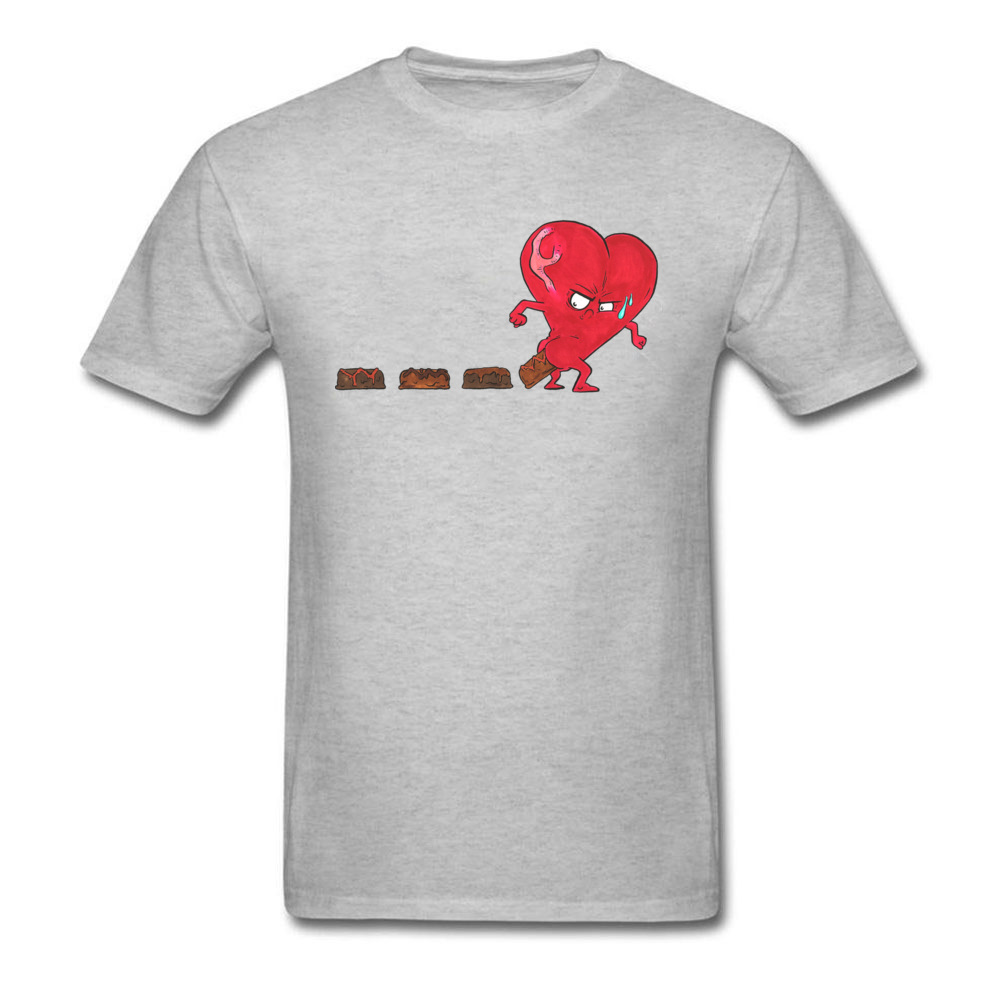 Design Chocolate Filled Heart Geek Short Sleeve Autumn Tops & Tees Wholesale Round Collar Cotton Fabric Tee Shirts Boy T Shirts Chocolate Filled Heart grey