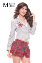 MOONIGHT Sexy Women Student Uniform Red England Style Naughty School Girl Costume Outfit