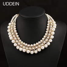 New Arrival Three Layer Simulated Pearl Strand Necklace & Pendant Alloy Braided Chain Necklace for women Wedding Accessories(China)