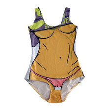 Bikini One Piece Yellow Swimsuit Women Bathing Suits Beachwear Padded Bodysuit Digital Printing Swimming Set Traje de bano LNSst