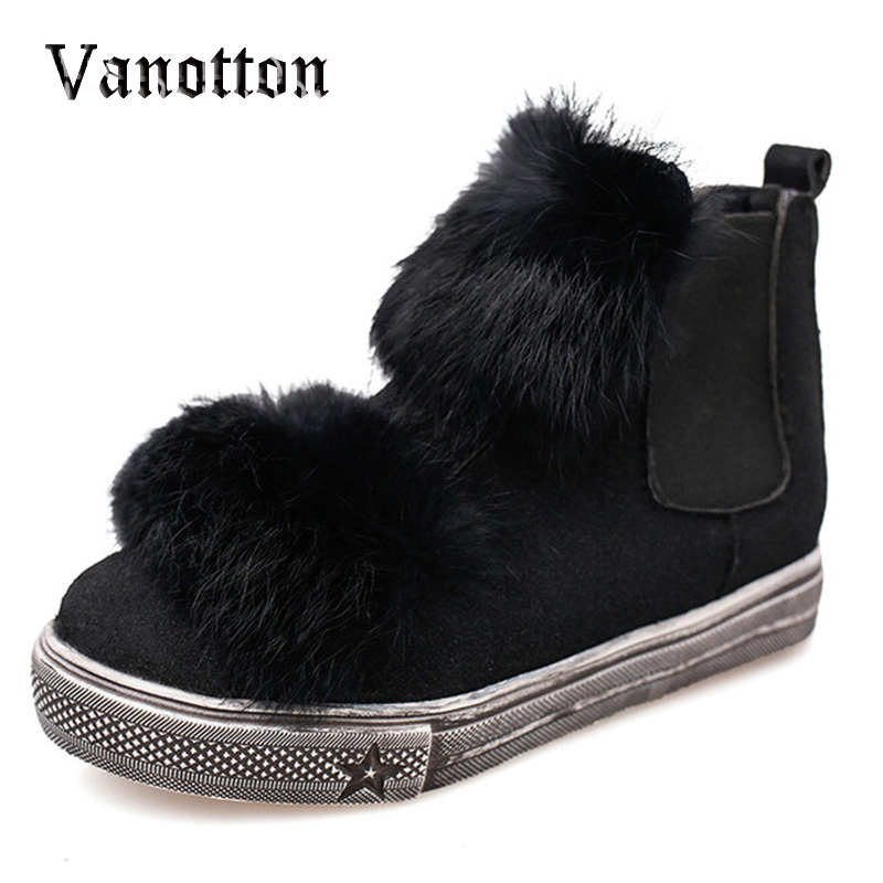 Women Fashion Boots Cute Artificial Fur Flat with Casual Ankle Boots Autumn Slip on Shoes Woman Big Size 40<br><br>Aliexpress