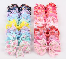 20pcs/lot 20color Sun-flower Printed Ribbon Bow Clips Girl Hairpins Flower Hair Bows With Clip Girl Christmas Hair Accessories
